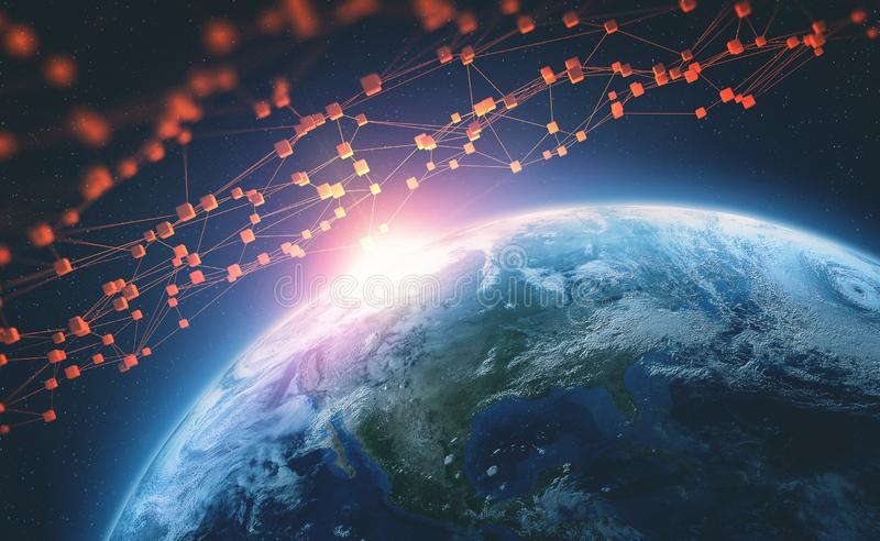 Blockchain technology. Big data global network. Planet earth 3D illustration. Element of this image furnished by NASA royalty free illustration