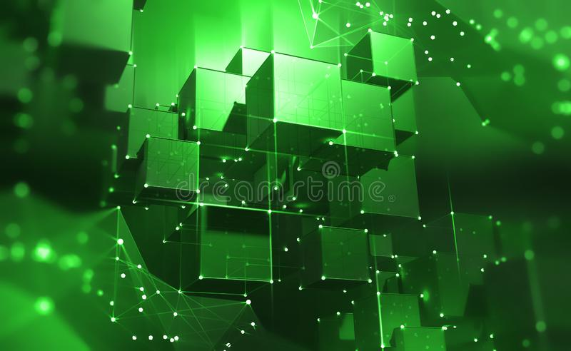 Blockchain Technology. Blocks of information in a decentralized cyberspace. Global flows of information. Digital data protection. 3d illustration of cubes with vector illustration