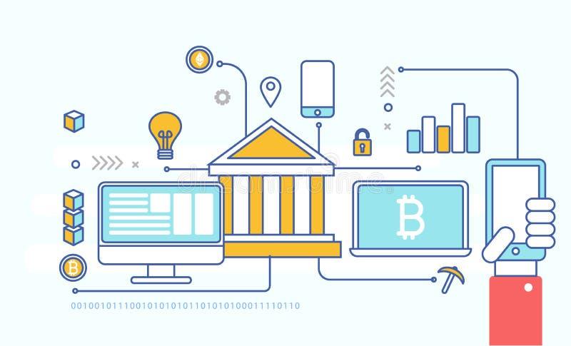 Blockchain technology, business concept low poly. Flat design. stock illustration
