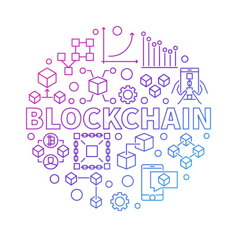 Blockchain technology colorful line round vector illustration. On white background vector illustration