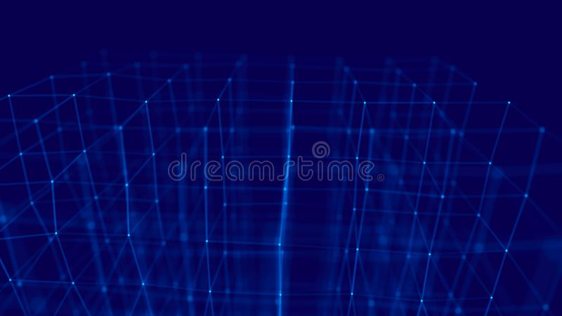 Blockchain technology concept. Big data visualization. 3D blue illustration. Distributed register technology stock illustration