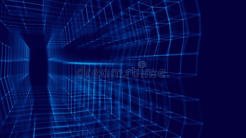Blockchain technology concept. Big data visualization. 3D blue illustration. Distributed register technology stock illustration