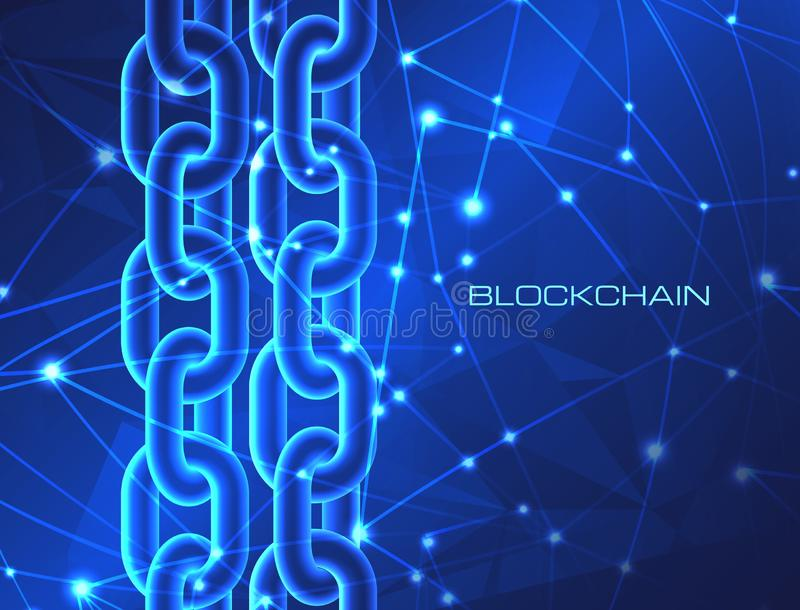 Blockchain technology concept database cryptocurrency digital bitcoin network currency crypto money mining background royalty free illustration