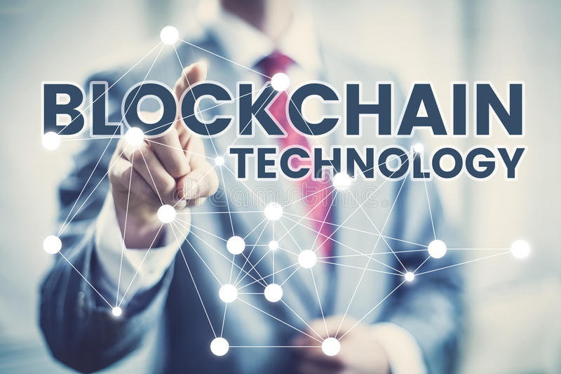 Blockchain technology concept. Business man in suit selecting network interface