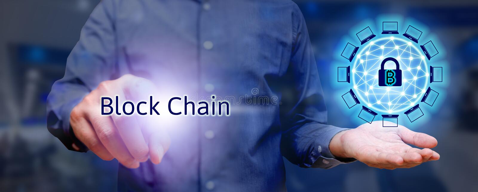 Blockchain technology concept, Businessman holding virtual system diagram bitcoin protection and pressing text. stock photo
