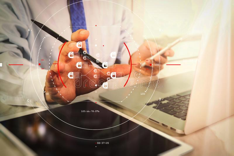 Medical technology concept. Doctor hand working with modern digital tablet and laptop computer with medical chart interface, Sun. Blockchain technology concept stock images