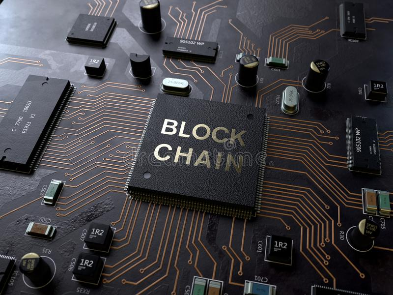 Blockchain technology concept on circuit board. 3d rendering,conceptual image royalty free stock photo