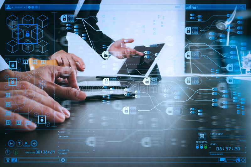 Co working team meeting concept,businessman using smart phone an. Blockchain technology concept with diagram of chain and encrypted blocks.co working team royalty free stock image