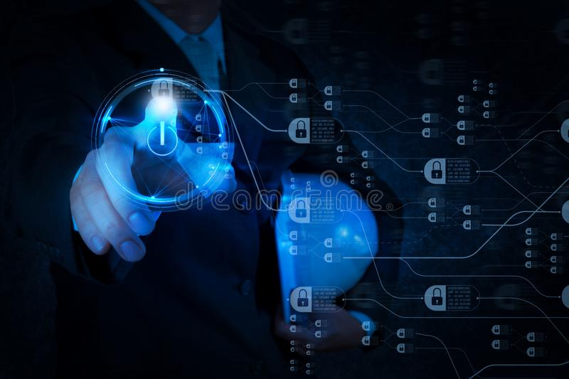 Engineer pushing start button on touch screen computer. Blockchain technology concept with diagram of chain and encrypted blocks.engineer pushing start button on stock images