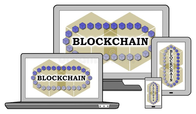 Blockchain technology concept on different devices vector illustration