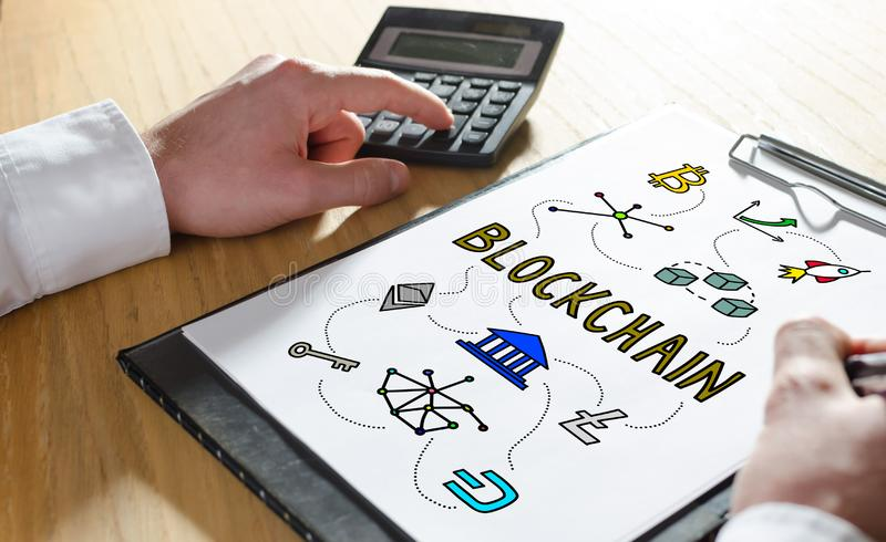 Blockchain technology concept on a clipboard royalty free stock image