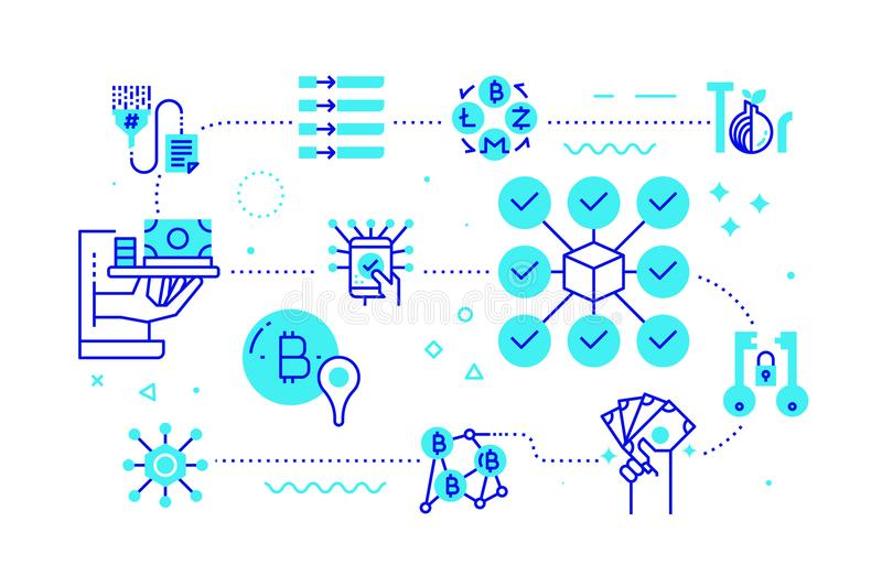 Blockchain technology concept illustration for web banner. Blockchain technology concept line illustration in blue theme line icon style royalty free illustration