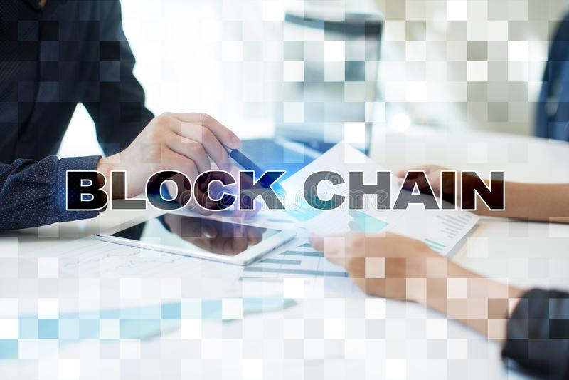 Blockchain technology concept. Internet money transfer. Cryptocurrency. stock illustration
