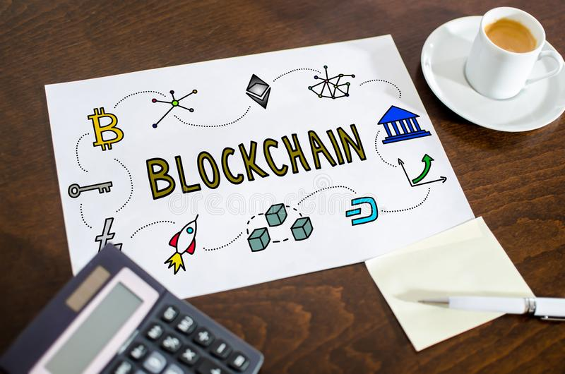 Blockchain technology concept on a paper royalty free stock photo