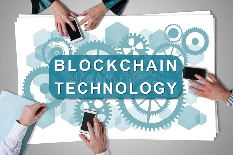 Blockchain technology concept placed on a desk royalty free stock photo