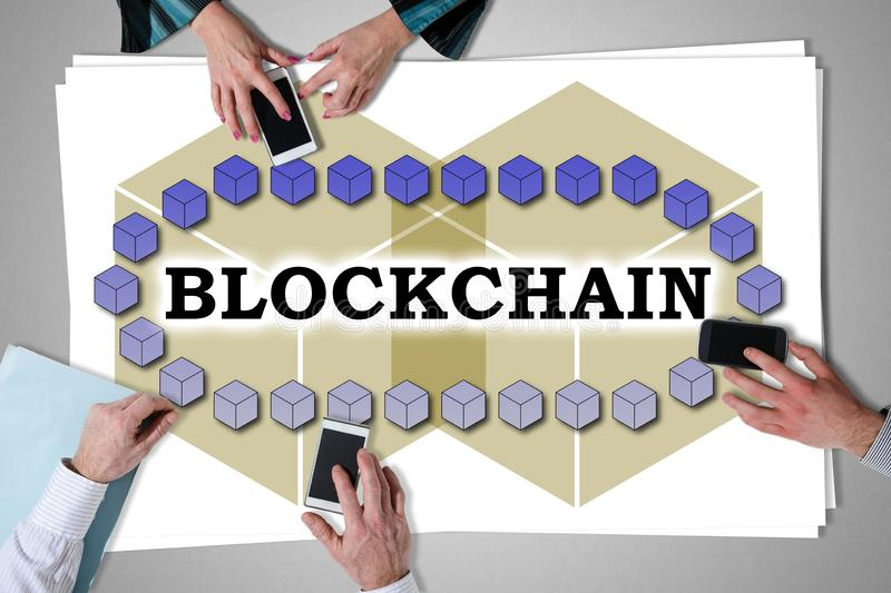 Blockchain technology concept placed on a desk stock images