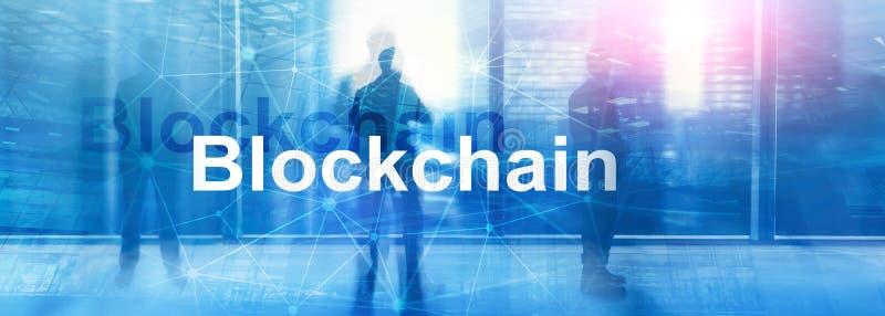 Blockchain technology Concept on server background. Data encryption vector illustration