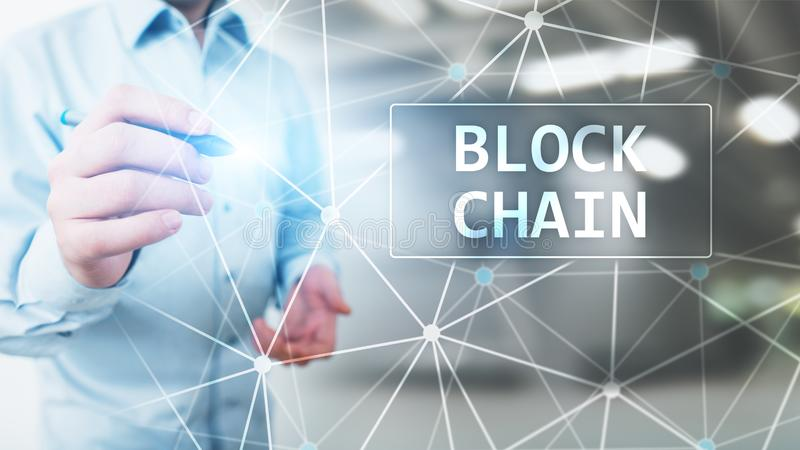 Blockchain technology concept on virtual screen. Cryptography and cryptocurrency. royalty free stock photos
