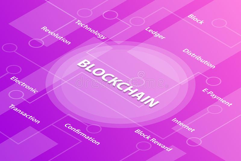 Blockchain technology concept words isometric 3d word text concept with some related text and dot connected - vector. Illustration vector illustration