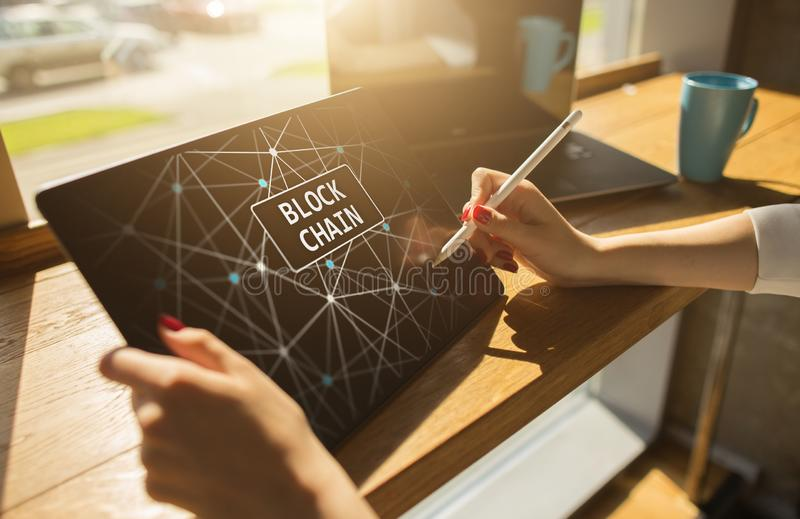 Blockchain technology and cryptocurrency Bitcoin, Ethereum concept on screen. stock image