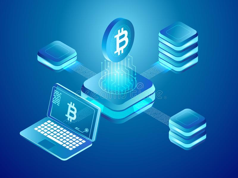 Blockchain technology. Cryptocurrency coins mining, secure distributed network of connected mine blocks isometric vector royalty free illustration