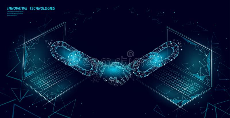 Blockchain technology 3D handshake. Business finance agreement contract concept. Success web network low poly banner vector illustration