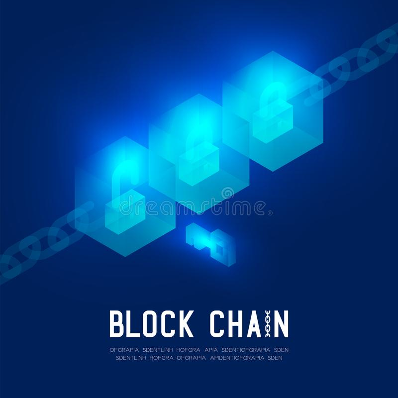 Blockchain technology 3D isometric virtual, Key Unlock protect system concept design illustration. On dark blue background and Blockchain Text with copy space vector illustration