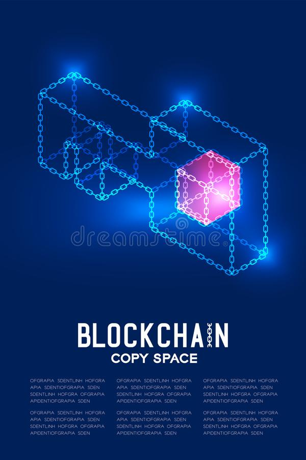 Blockchain technology 3D isometric virtual, Private key concept. Design illustration isolated on dark blue background and Blockchain Text with copy space royalty free illustration