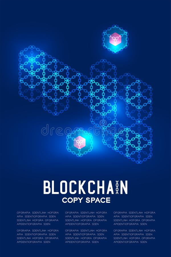 Blockchain technology 3D isometric virtual, Private key concept design illustration. Isolated on dark blue background and Blockchain Text with copy space stock illustration