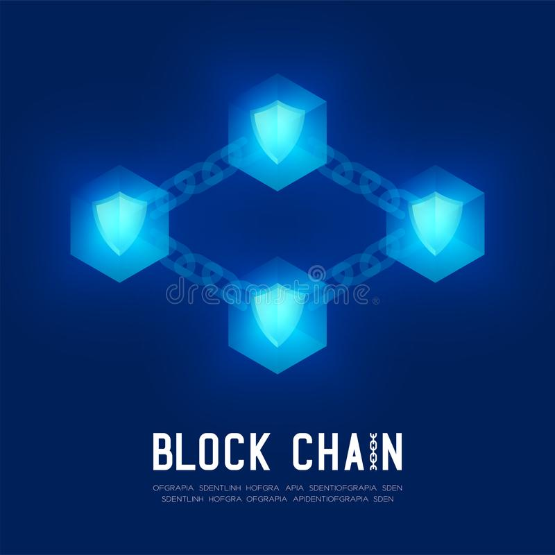 Blockchain technology 3D isometric virtual, Safety system concept design illustration. On dark blue background and Blockchain Text with copy space, vector eps stock illustration