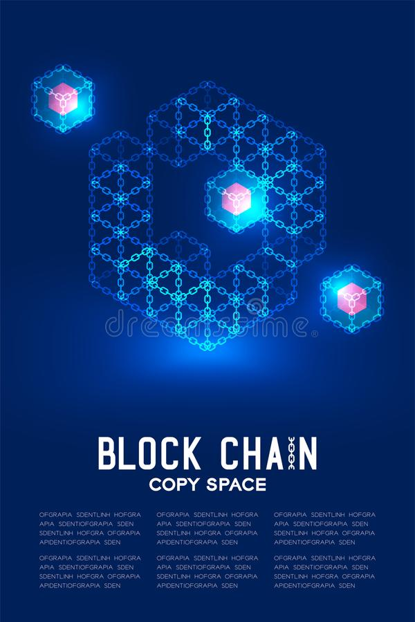Blockchain technology 3D isometric virtual, system online concept design illustration. Isolated on dark blue background and Blockchain Text with copy space vector illustration
