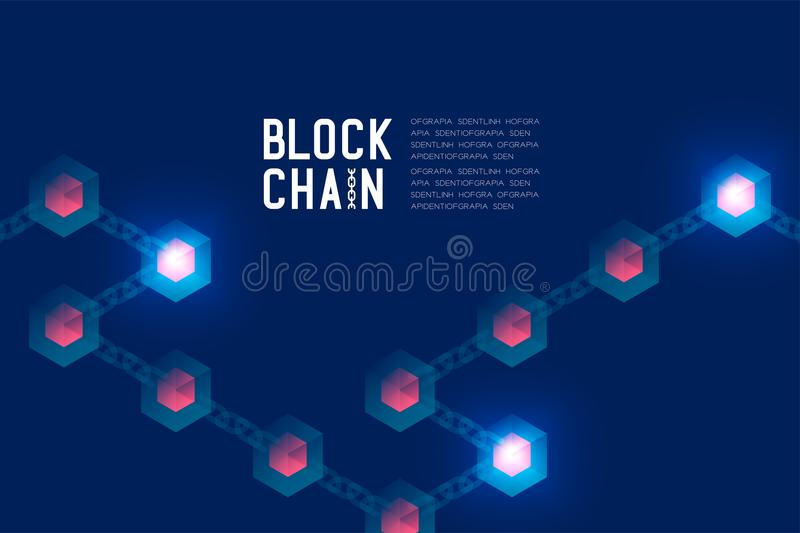 Blockchain technology 3D isometric virtual, system online concept design illustration on dark blue background and Blockch. Ain Text with copy space, vector eps royalty free illustration