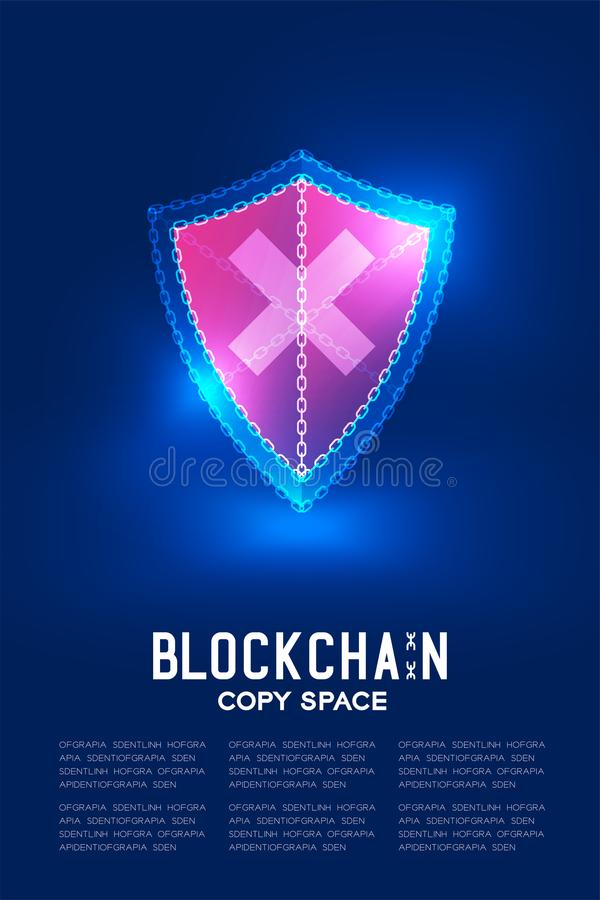 Blockchain technology 3D isometric virtual, Unsafe shield system concept design illustration. Isolated on dark blue background and Blockchain Text with copy stock illustration