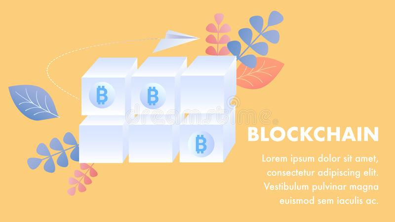 Blockchain Technology Flat banner Vector Template. Cryptocurrency Investment, Financial Literacy. Bitcoin Mining, E business. Ecommerce Innovation, Crypto vector illustration