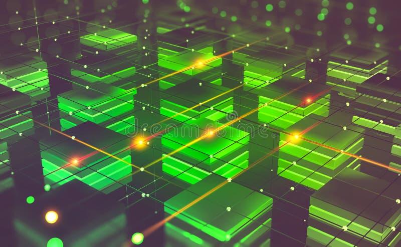 Blockchain technology. Futuristic mining farm. Cyberspace abstract concept stock illustration
