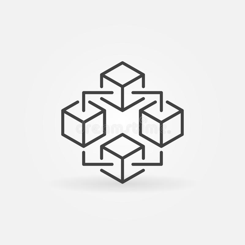 Blockchain technology icon. Vector block chain symbol. Blockchain technology modern icon. Vector block chain symbol or logo element in thin line style royalty free illustration