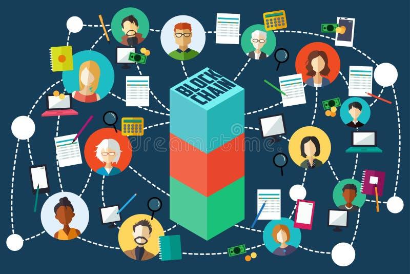 Blockchain Technology Illustration royalty free illustration