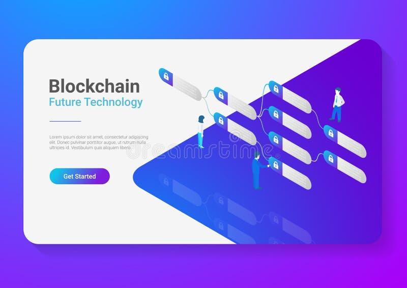 Blockchain Technology Isometric flat vector illustration concept. People using Block chain data vector illustration