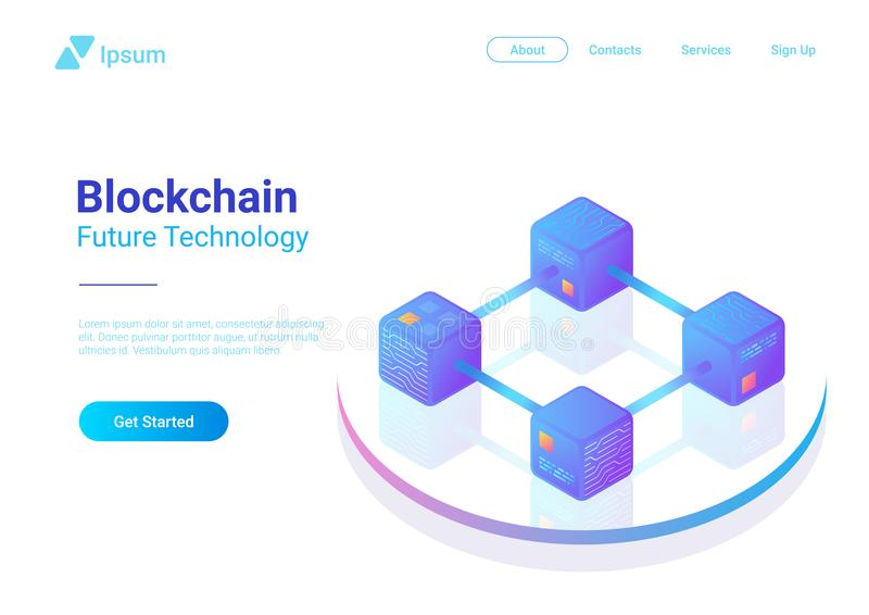 Blockchain Technology Isometric vector. Block chai stock illustration