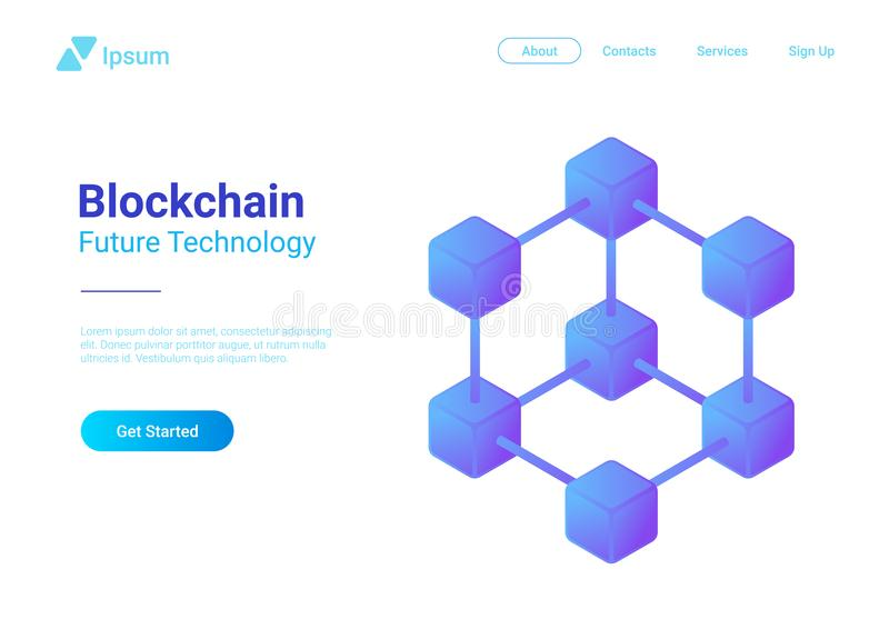 Blockchain Technology Isometric vector. Block chai. Blockchain Technology Isometric flat vector illustration concept. Hi tech Block chain data structure stock illustration