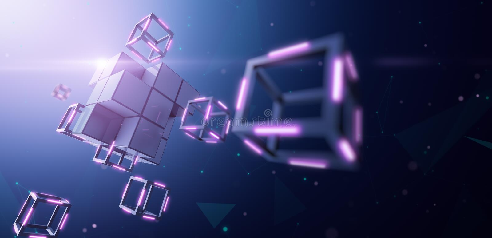 Blockchain Technology, Large block dismantles in to small cube royalty free illustration