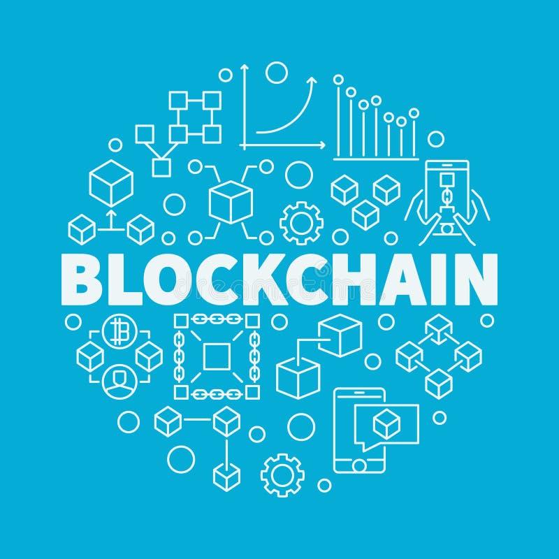 Blockchain technology linear vector illustration on blue backgro vector illustration