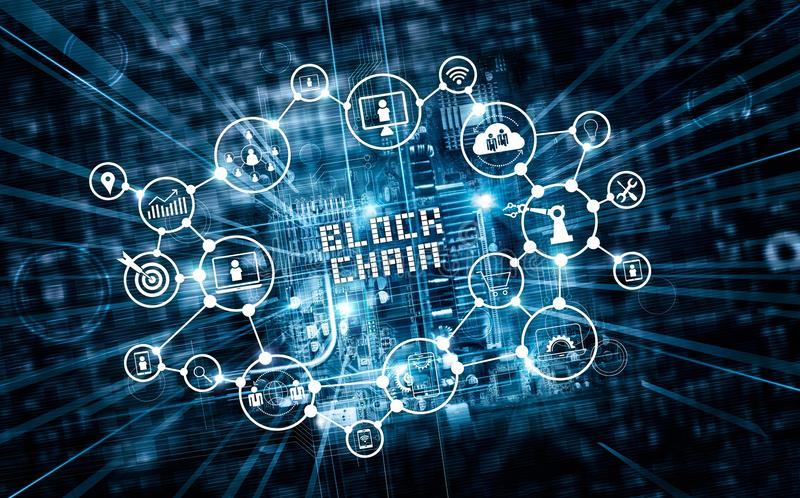 Blockchain technology and network concept. Block chain text and stock image