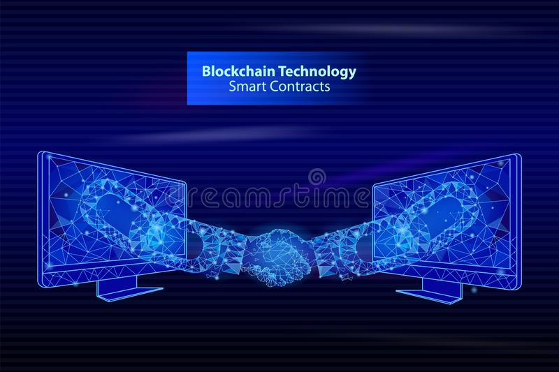 Blockchain Technology Smart Contacts Poster Vector vector illustration