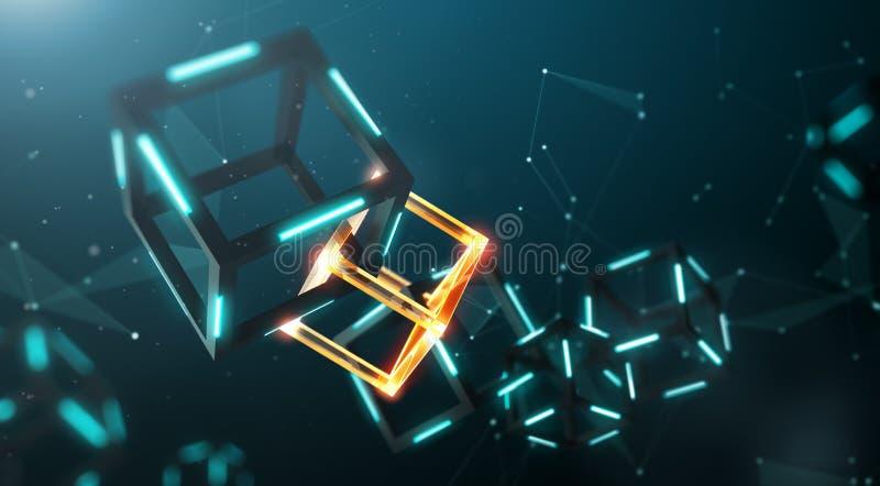Blockchain teknologi stock illustrationer