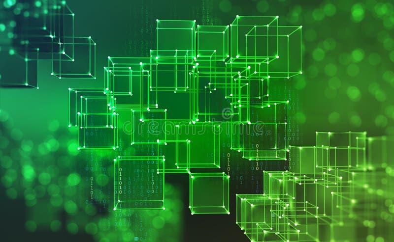 Blockchain teknologi Informationskvarter i cyberspace royaltyfri illustrationer