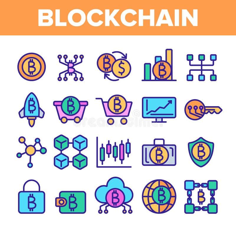 Blockchain teknologi, upps?ttning f?r symboler f?r Cryptocurrency vektor linj?r stock illustrationer