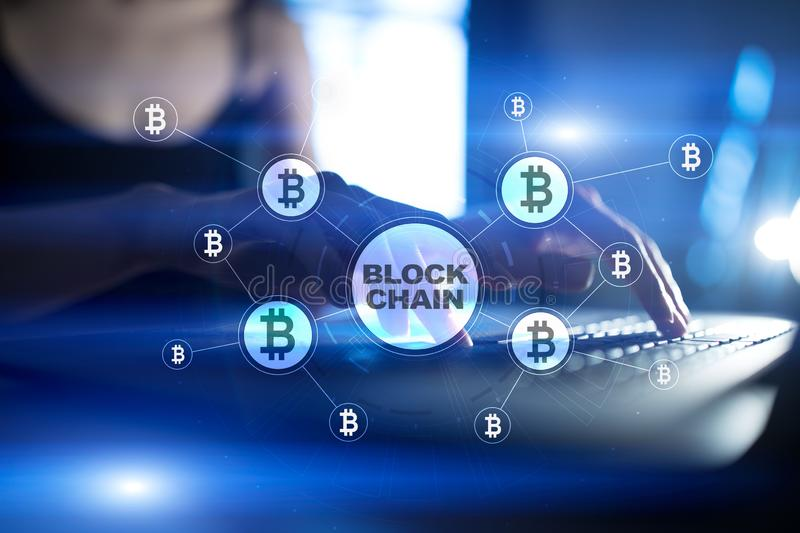 Blockchain teknologibegrepp Internetpengaröverföring Cryptocurrency stock illustrationer