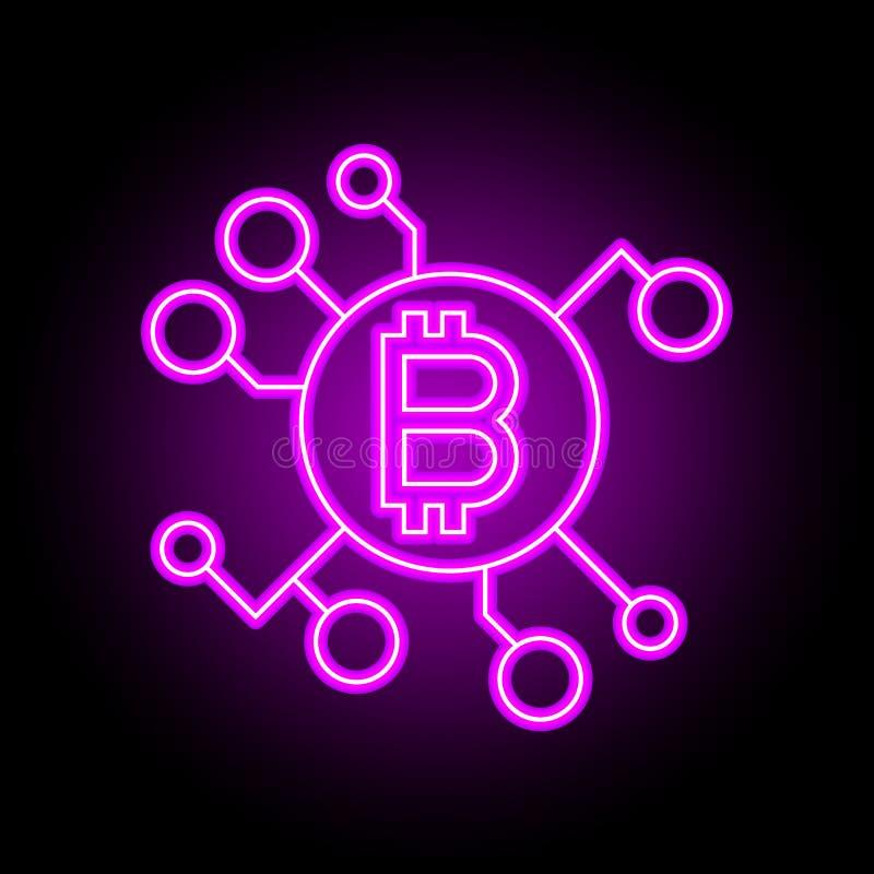 Blockchain teknologibegrepp Underteckna in neonstil stock illustrationer