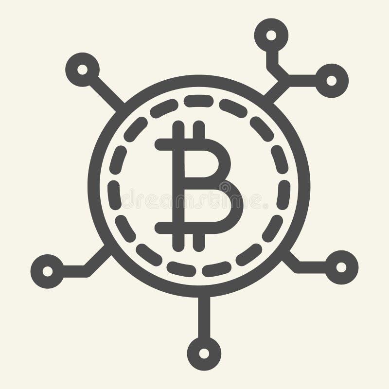 Blockchain teknologilinje symbol Illustration för Bitcoin kommunikationsvektor som isoleras på vit Crypto myntchipöversikt royaltyfri illustrationer